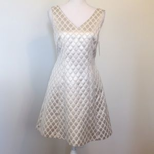 Cremieux Fit & Flare Cream/Silver Party Mini Dress